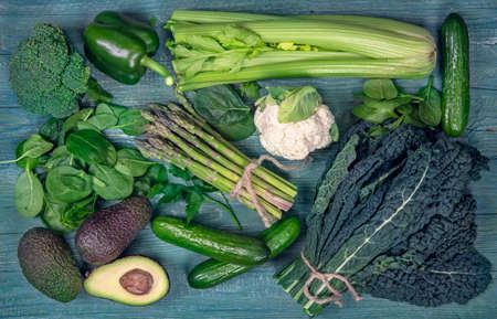 Alkaline foods above the wooden background Stock Photo