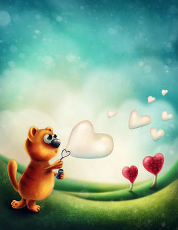 Red cat making heart soap bubble