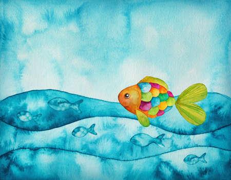 Waterverf illustratie van kleurrijke vissen Stockfoto
