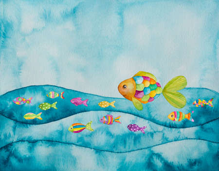 Watercolor illustration of colorful fishes