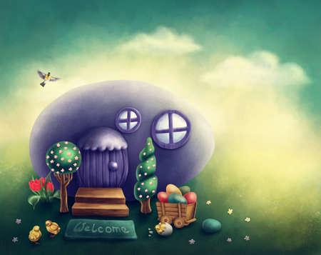 digital: Illustaration of an easter egg house