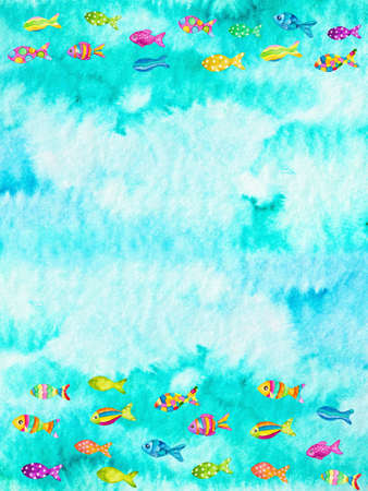 background color: Watercolor illustration of colorful fishes