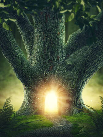 toran: Magic tree with the gateway Stock Photo