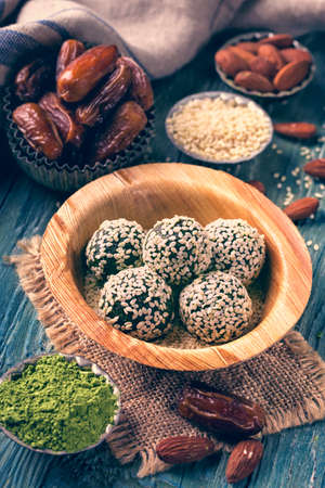 powdered: Matcha energy balls from dates and almonds
