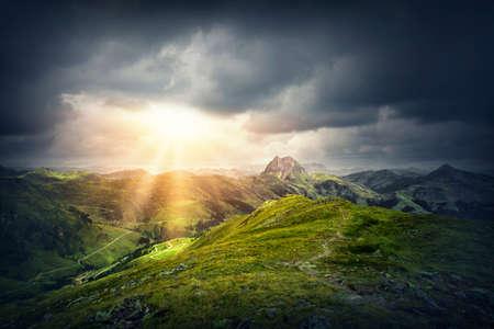 wildkogel austria: Magic mountain landscape with sunshine