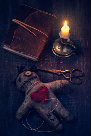 Voodoo doll with pins stuck into it