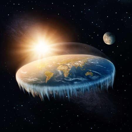 Vlakke aarde in de ruimte met zon en maan Stockfoto
