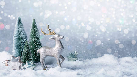 Christmas decoration on a grey sparkle background