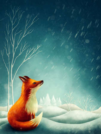 Illustration of a little red fox in winter