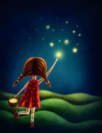星を捕まえようとする少女のイラスト 写真素材