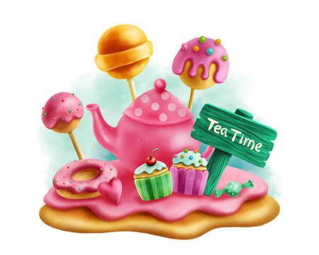 Digital illustration of magic sweets for tea party Foto de archivo