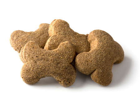 Bone shaped dog biscuit isolated on a white background