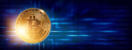 Banner with bitcoin on a blue background  Stock Photo