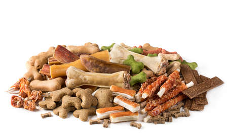 Assortment of dog snacks isolated on a white background Banque d'images