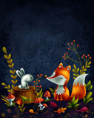 Little red fox in the magic forest Banque d'images