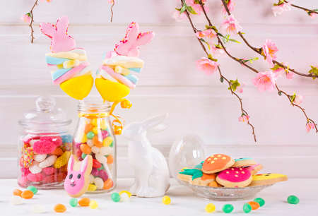 Colorful sweets on a white wooden background