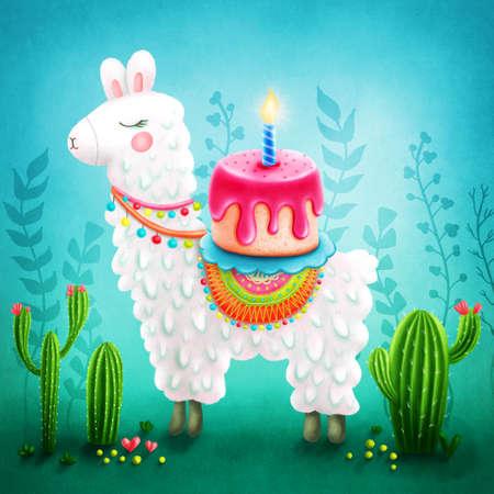 Illustration of a cute llama