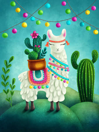 Illustration of a cute llama