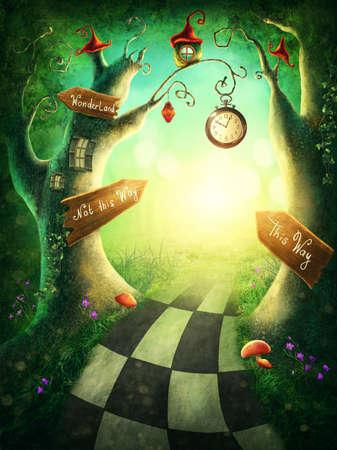 Bois enchanté avec horloge et signes Banque d'images