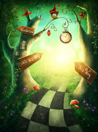 Enchanted wood with a clock and signs