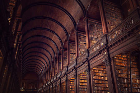 DUBLIN, IRELAND -  JULY 14, 2018: The Long Room in the Trinity College Library on July 14, 2018 in Dublin, Ireland. Editoriali