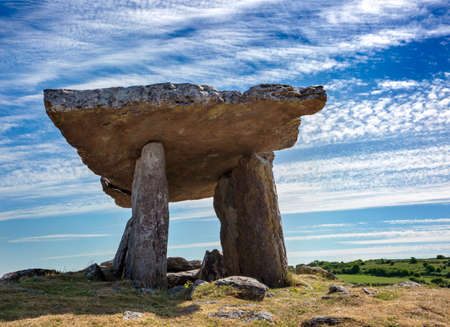 Poulnabrone dolmen, portal tomb in the Burren, County Clare, Ireland