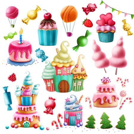 Digital illustration of various sweets. Clip Art.