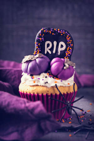 Cupcake with pumpkins for Halloween party Stock Photo