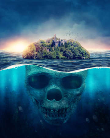 Fantasy Spooky Island.  Underwater scull Banque d'images