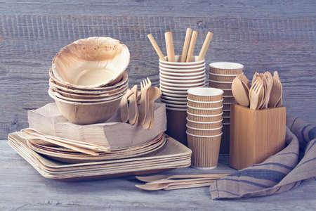 Eco friendly disposable tableware on a grey background Banco de Imagens