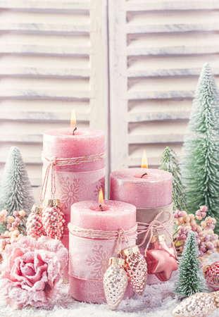 Pink christmas candle for christmas
