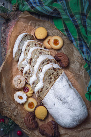 Stollen cake and christmas cookies