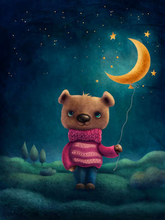 Illustration of a cute bear with a moon baloon.