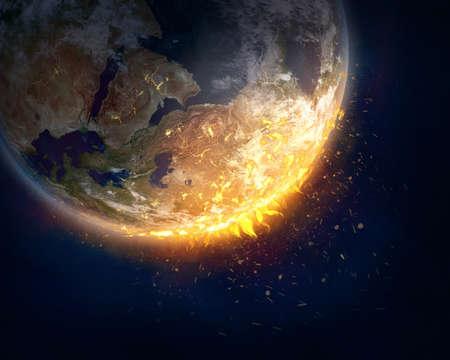Burning Earth, global warming concept. Standard-Bild