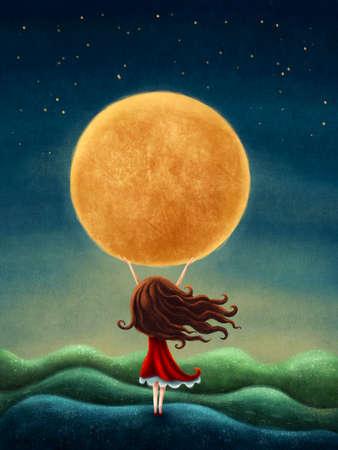 Illustration of a little girl on the moon Standard-Bild