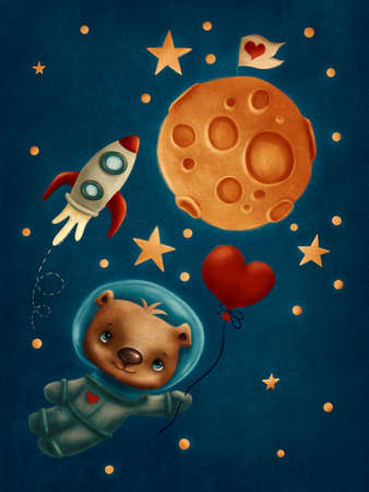 Illustration of a cute bear with baloon