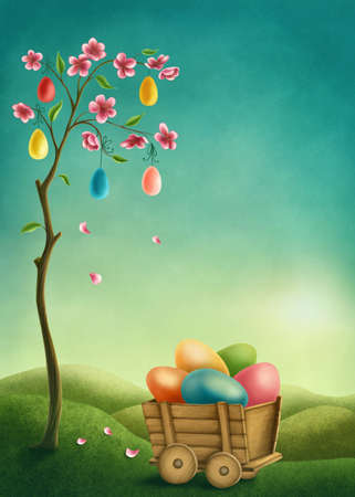 Tree with pink flowers and colorful Easter eggs. Illustration with copy space Standard-Bild