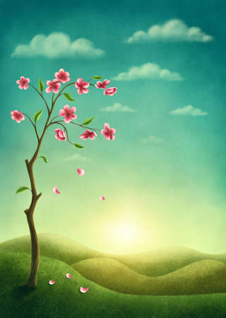 Tree with pink flowers in the spring. Illustration with copy space Standard-Bild