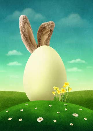 A big white egg in the field Standard-Bild