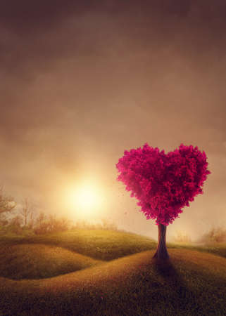 Red love tree, heart shaped