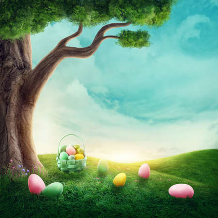 Meadow with easter eggs in the grass Standard-Bild