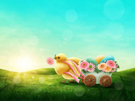 Chicken and the carriage with easter eggs isolated on a white background