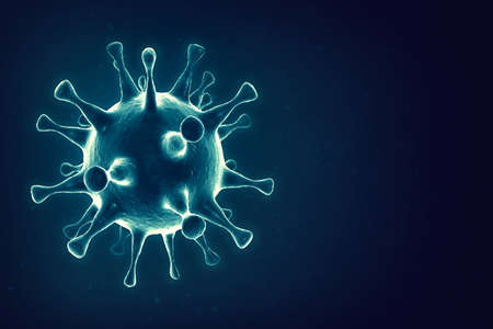 Coronavirus concept. Microscope virus close up. 3d rendering. Standard-Bild