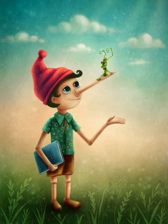 Pinocchio puppet. Fairy tale character.