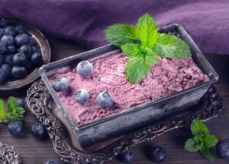 Homemade blueberry ice cream with fresh mint Standard-Bild - 149041698