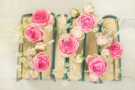 Pink flowers and the old books on a white background Standard-Bild - 147293823