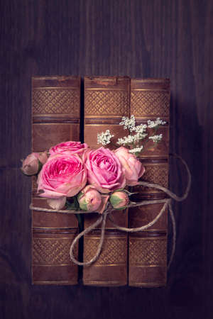 Pink flowers and the old books on a brown background Standard-Bild