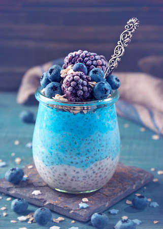 Blue spirulina chia pudding with berries and oats