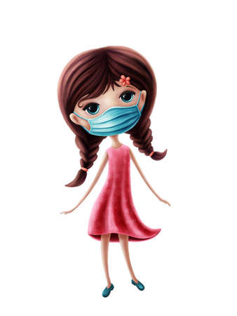 Illustration of a little girl with nose mouth mask