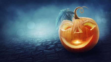 Halloween banner with a pumpkin Standard-Bild